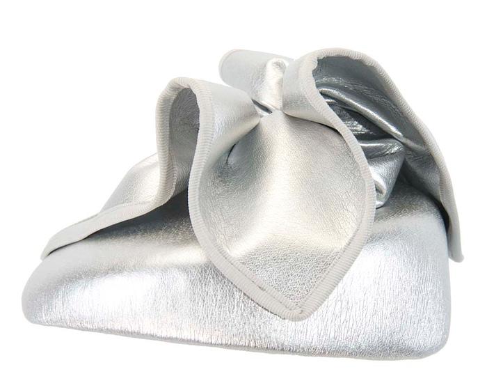 Fascinators Online - Silver leather pillbox fascinator by Max Alexander 3