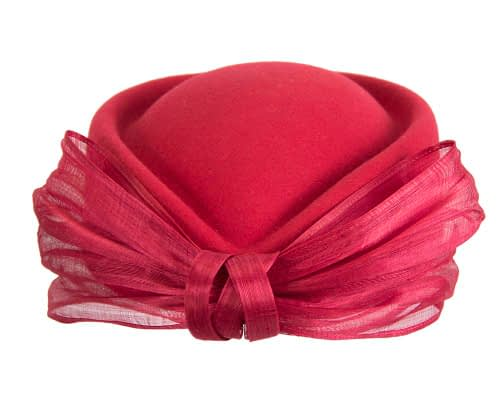 Fascinators Online - Red felt ladies fashion beret hat with bow by Fillies Collection 8