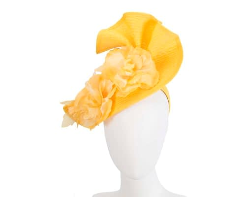Fascinators Online - Bespoke large yellow flower fascinator by Fillies Collection 1