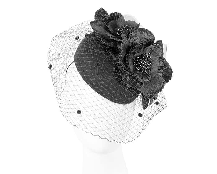 Fascinators Online - Black Australian Made winter pillbox by Fillies Collection 1