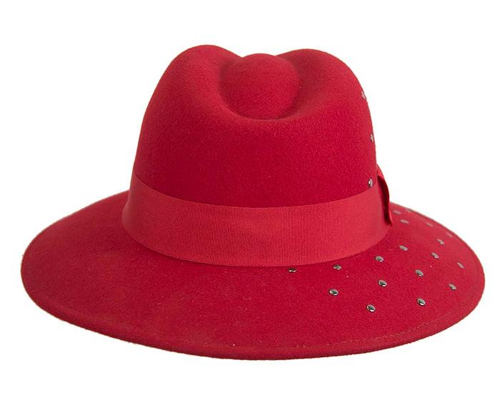 Fascinators Online - Wide brim red felt fedora hat by Max Alexander 6