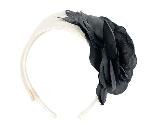 Fascinators Online - Cream black leather flower headband fascinator by Max Alexander 2