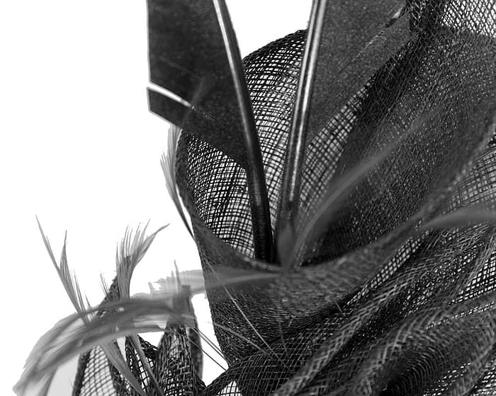 Fascinators Online - Black racing fascinator with feathers by Max Alexander 3