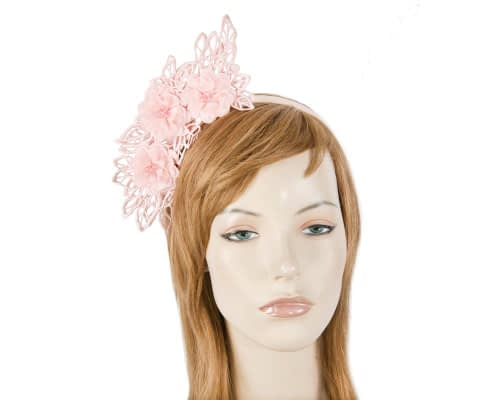 Pink lace crown racing fascinator by Max Alexander