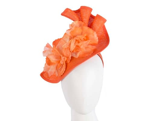 Fascinators Online - Bespoke large orange flower fascinator by Fillies Collection 132