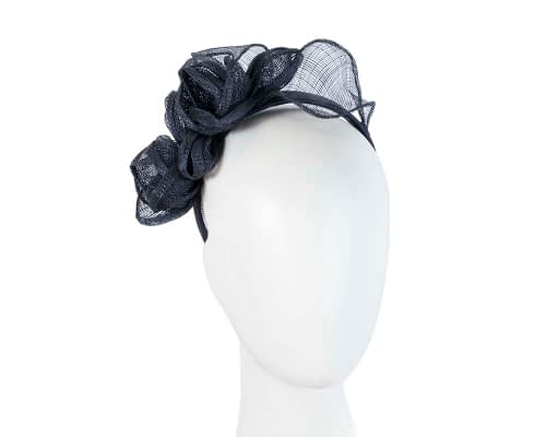Fascinators Online - Navy flowers racing fascinator 23