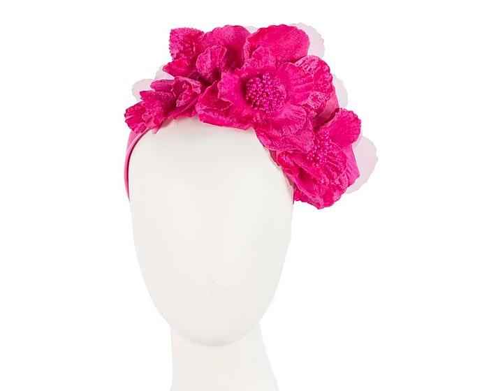 Fascinators Online - Bright fuchsia flowers on the headband 1