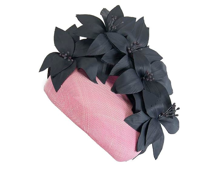Fascinators Online - Pink & navy leather flower pillbox fascinator by Fillies Collection 2