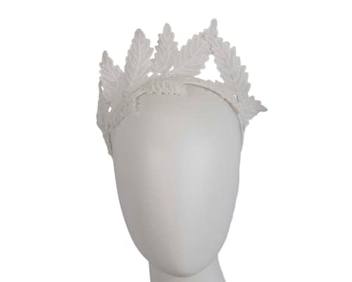 Fascinators Online - Ivory lace crown racing fascinator by Max Alexander 10