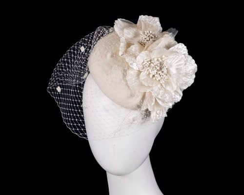 Fascinators Online - Cream Australian Made winter pillbox by Fillies Collection 24