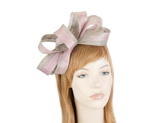 Fascinators Online - Pink & silver loops of sinamay racing fascinator by Max Alexander 1