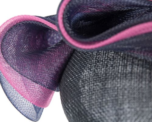 Fascinators Online - Navy & fuchsia pillbox racing fascinator with wave by Fillies Collection 5