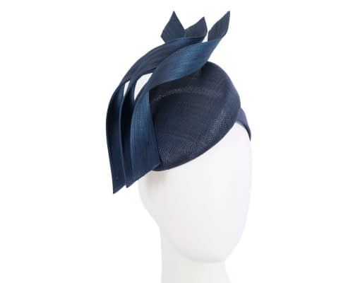 Fascinators Online - Navy pillbox racing fascinator with jinsin trim by Fillies Collection 1