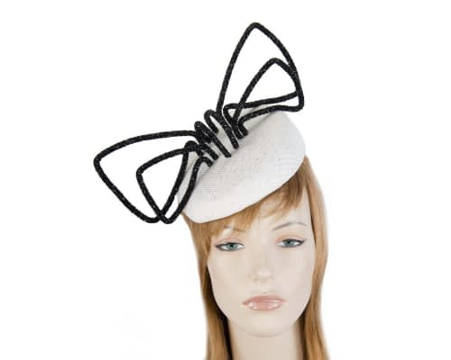 Fascinators Online - Bespoke white pillbox with black bow by Fillies Collection 19
