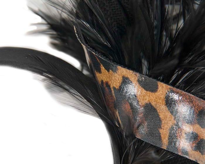 Fascinators Online - Black & leopard twisted fascinator 3
