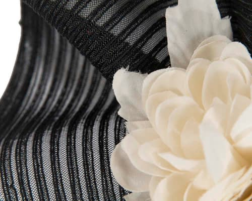Fascinators Online - Large black racing fascinator with cream flowers by Fillies Collection 3