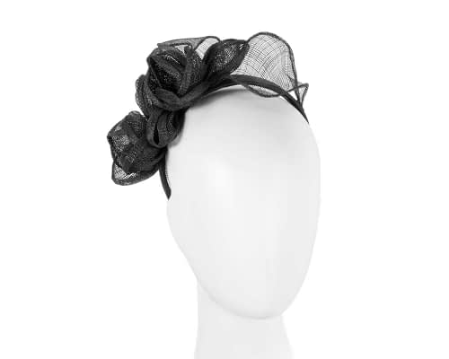 Fascinators Online - Black flowers racing fascinator 42