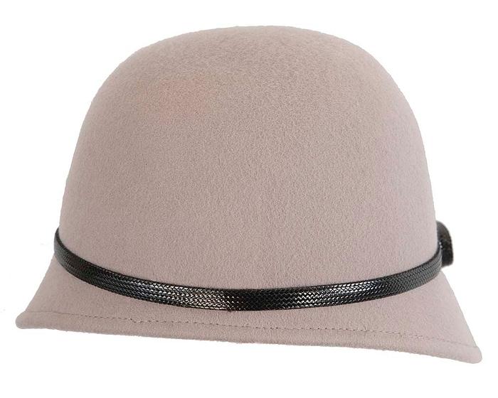 Fascinators Online - Grey felt cloche hat by Max Alexander 5