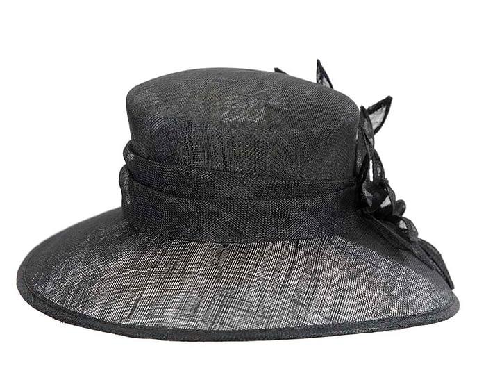 Fascinators Online - Large traditional black racing hat by Max Alexander 6