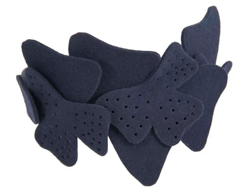 Fascinators Online - Petite navy felt winter fascinator by Max Alexander 4