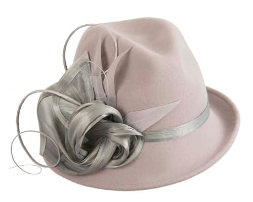 Fascinators Online - Exclusive grey felt trilby hat by Fillies Collection 2