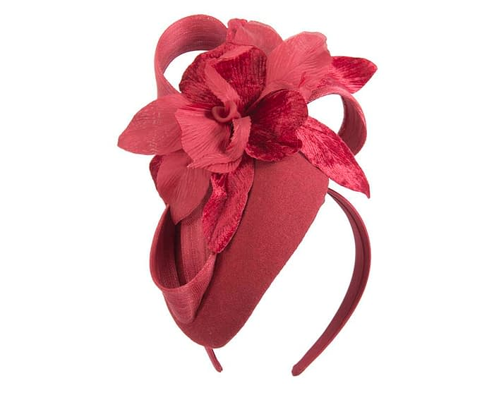 Fascinators Online - Tall red felt pillbox with flower by Fillies Collection 2
