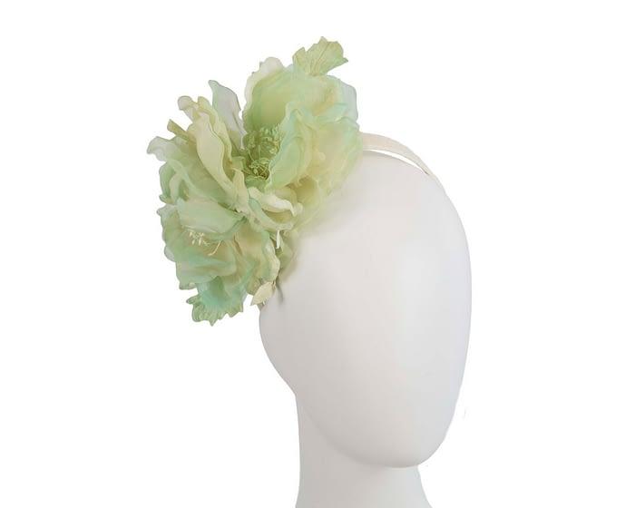 Fascinators Online - Light Green Silk Flower Fascinator by Fillies Collection 1