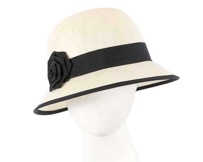 Fascinators Online - Cream and Black spring racing bucket hat by Max Alexander 1