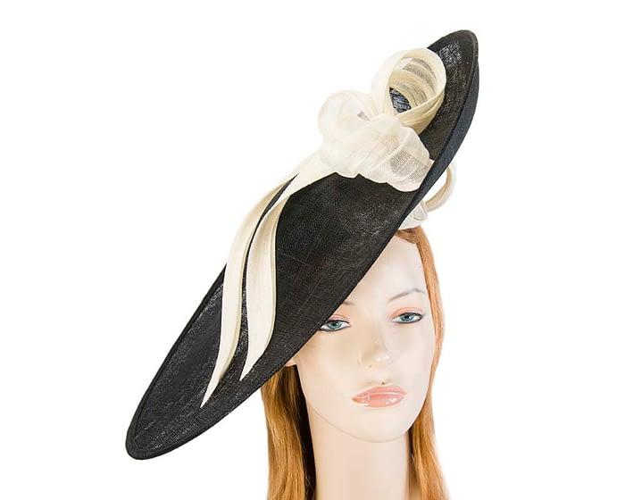 Fascinators Online - Large black fascinator hat with cream bow 1