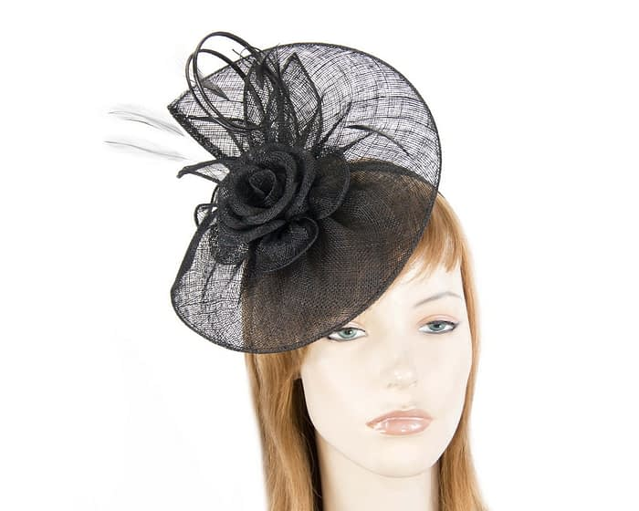 Fascinators Online - Large black sinamay racing fascinator with feathers by Max Alexander 1
