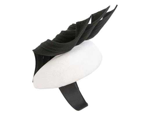 Fascinators Online - White & black pillbox racing fascinator with jinsin trim by Fillies Collection 3