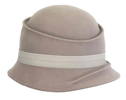 Fascinators Online - Grey ladies felt bucket hat 3