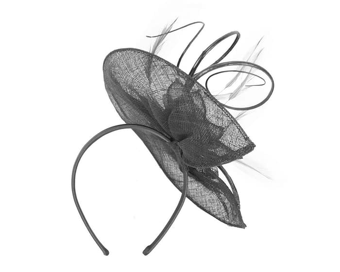 Fascinators Online - Large black sinamay racing fascinator with feathers by Max Alexander 4