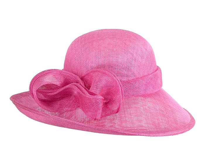 Fascinators Online - Wide brim fuchsia sinamay racing hat by Max Alexander 3