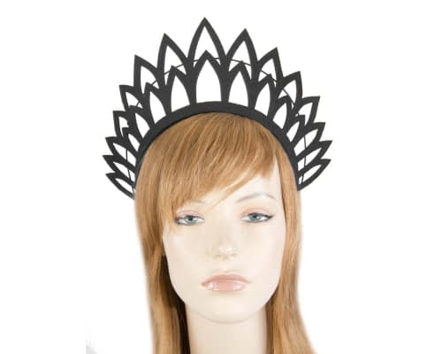 Fascinators Online - Black laser-cut crown fascinator headband 6
