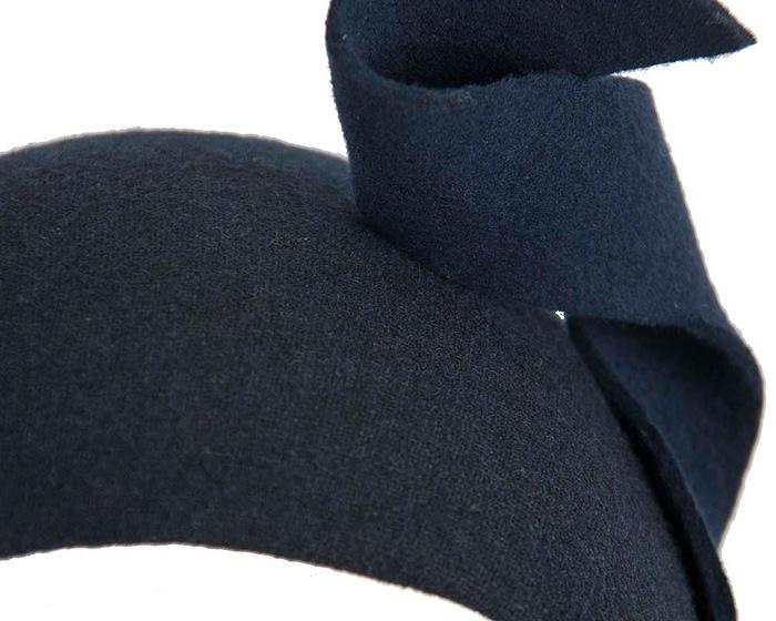 Fascinators Online - Wide navy designers headband winter fascinator by Max Alexander 4