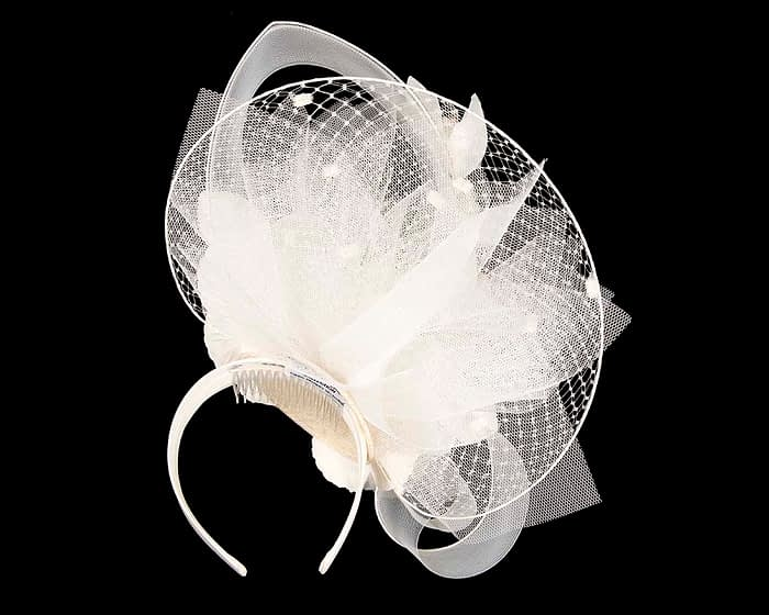 Fascinators Online - Bespoke ivory cream fascinator by Fillies Collection 4