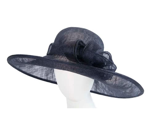 Fascinators Online - Wide brim navy sinamay racing hat by Max Alexander 3