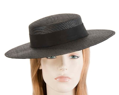 Fascinators Online - Black boater hat by Max Alexander 10