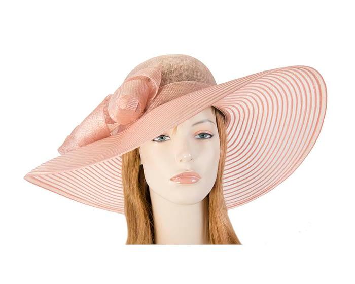 Fascinators Online - Wide brim dusty pink fashion hat by Max Alexander 1