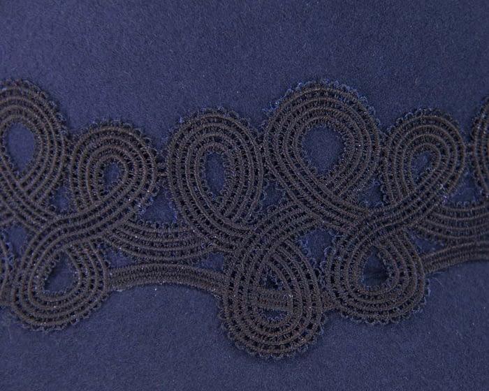 Fascinators Online - Navy felt ladies cap with lace 5