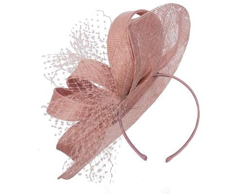 Fascinators Online - Large dusty pink sinamay fascinator by Max Alexander 4
