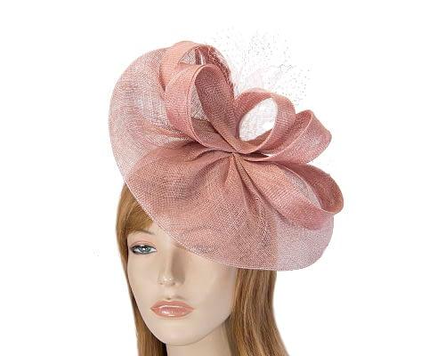 Fascinators Online - Large dusty pink sinamay fascinator by Max Alexander 1
