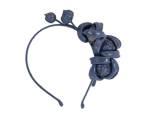 Fascinators Online - Navy leather flowers headband by Max Alexander 2