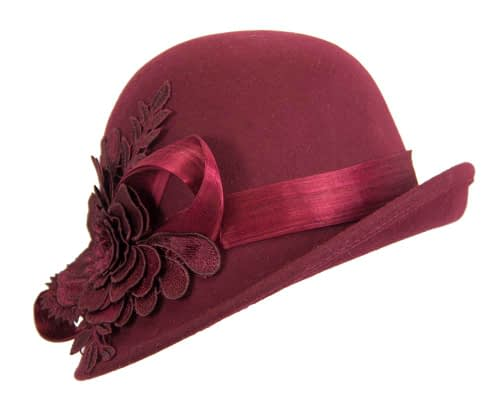 Fascinators Online - Exclusive burgundy felt cloche hat with lace by Fillies Collection 2