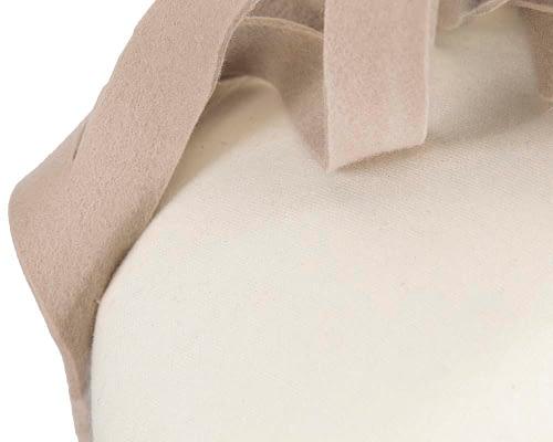 Fascinators Online - Unusual cream & sand felt pillbox fascinator by Fillies Collection 5