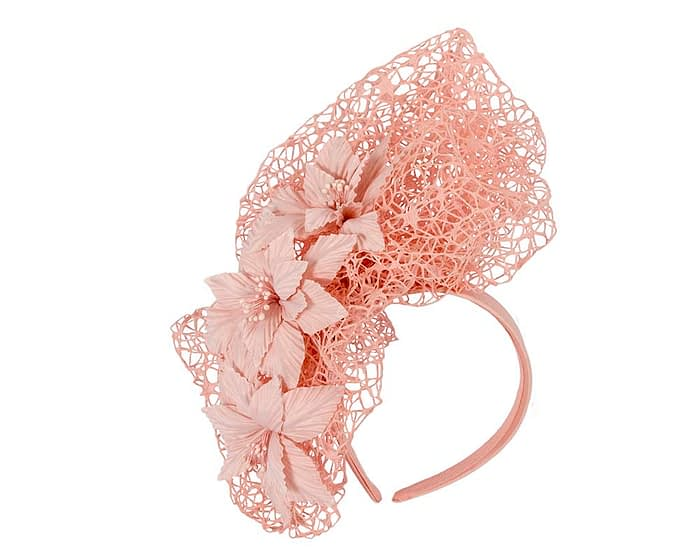 Fascinators Online - Peach pink designers racing fascinator by Fillies Collection 2
