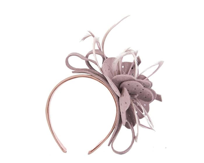 Fascinators Online - Dusty Pink felt flower and feathers winter fascinator 2