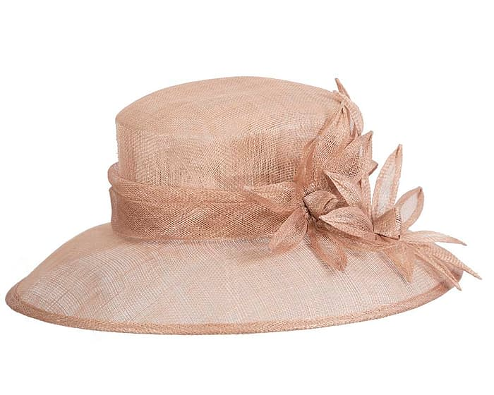 Fascinators Online - Large traditional nude racing hat by Max Alexander 6