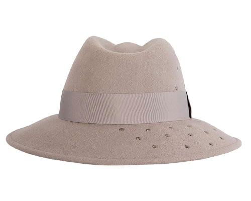Fascinators Online - Wide brim grey felt fedora hat by Max Alexander 5